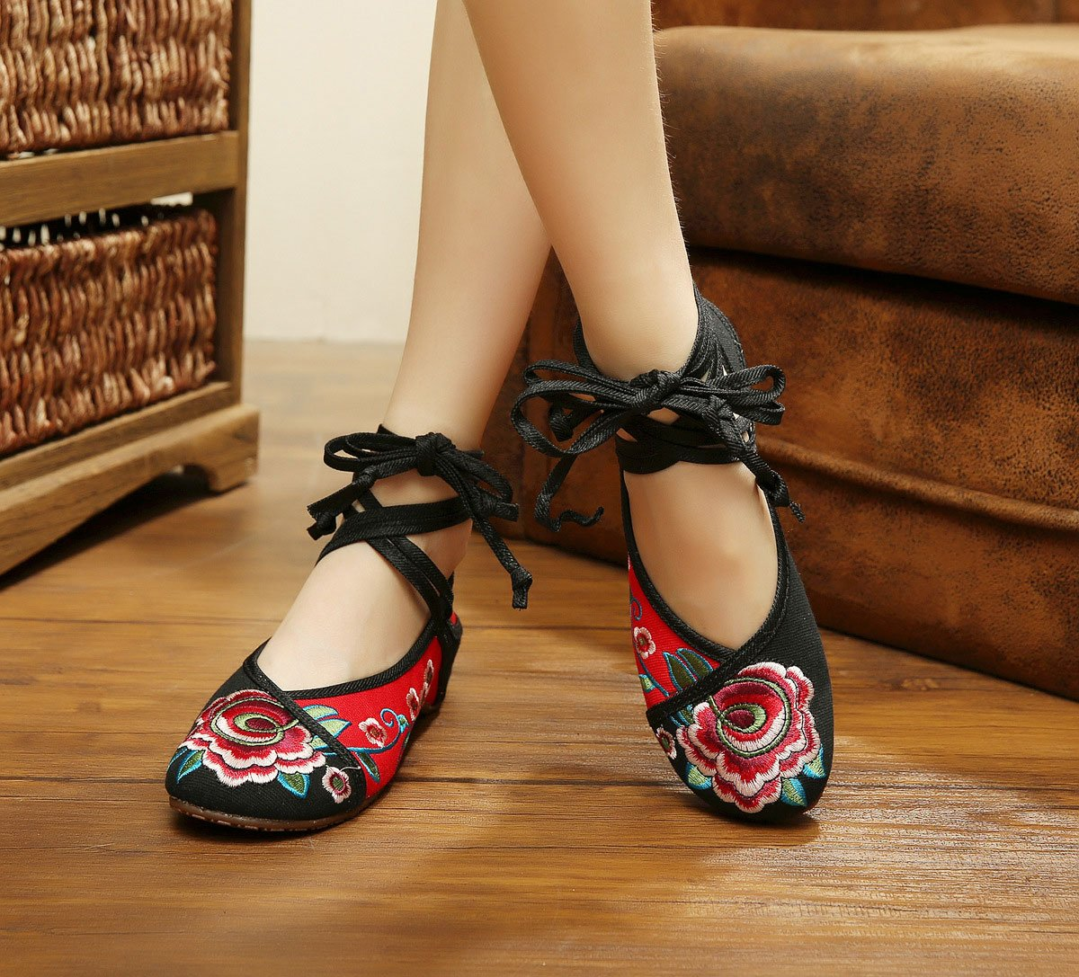 AvaCostume Women's Chinese Embroidery Strappy Multicolor Platform Dress Shoes Black 42 by AvaCostume (Image #2)