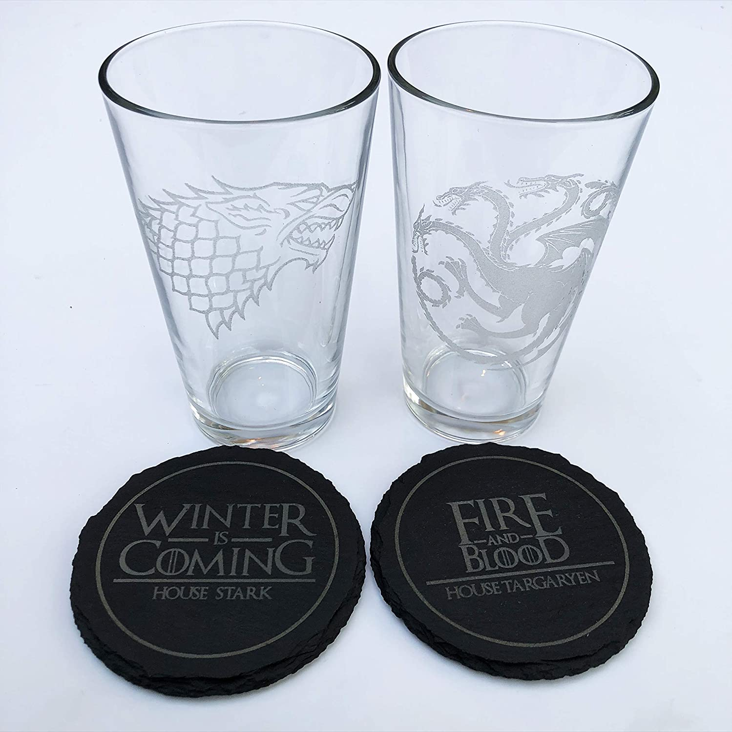 Etched Pint Glass and Slate Coaster Set of 4 Game of Thrones