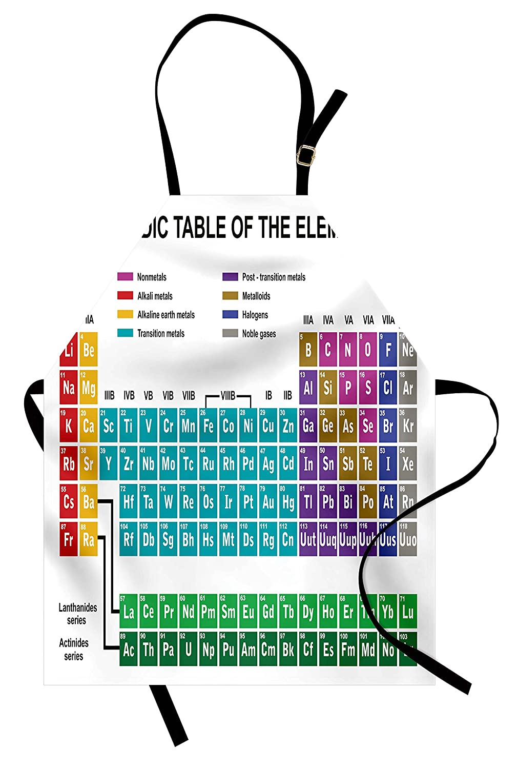 Ambesonne Periodic Table Apron, Educational Artwork for Classroom Science Lab Chemistry Club Camp Kids Print, Unisex Kitchen Bib Apron with Adjustable Neck for Cooking Baking Gardening, Multicolor