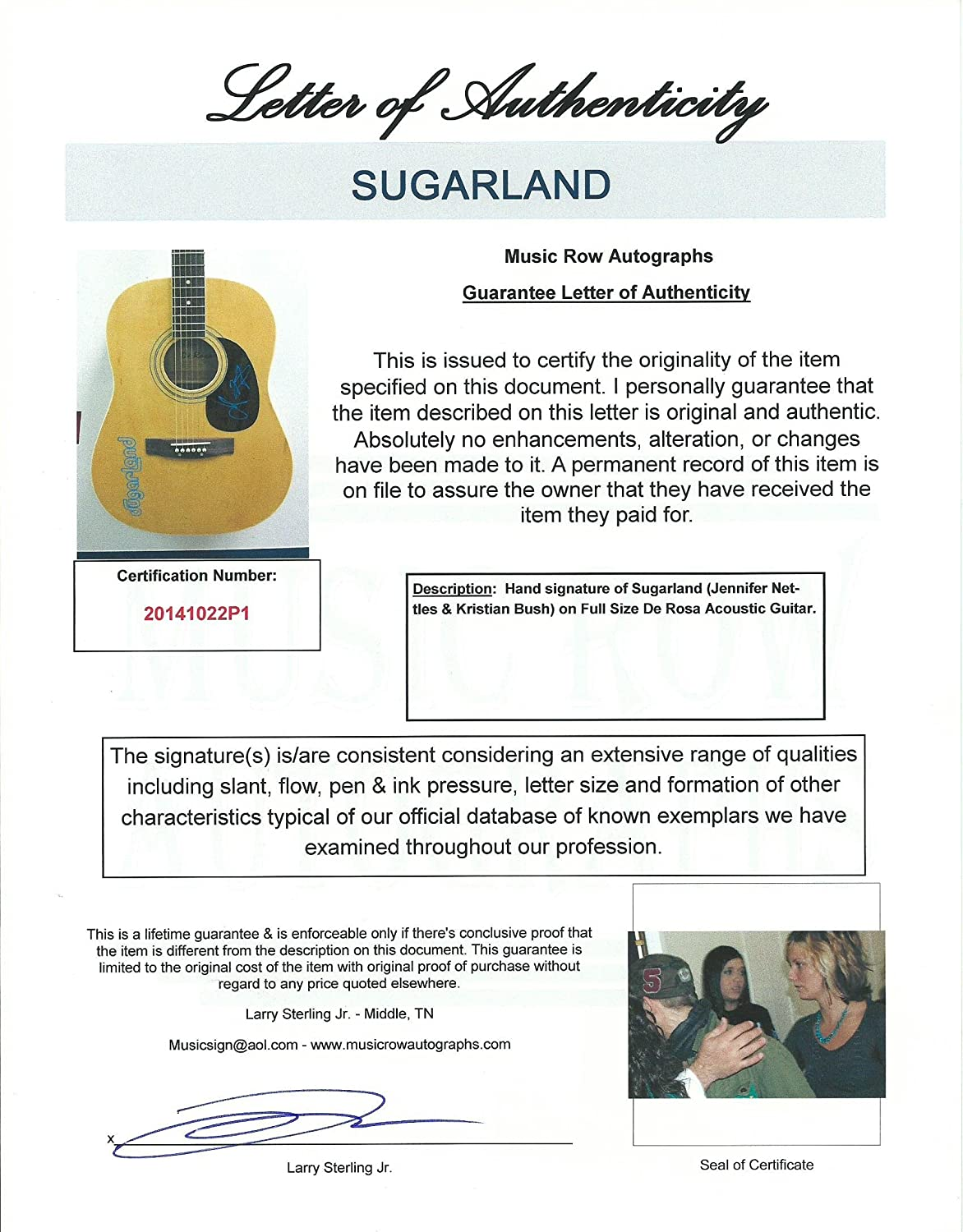 Sugarland Signed Autograph Acoustic Guitar Country Music Jennifer