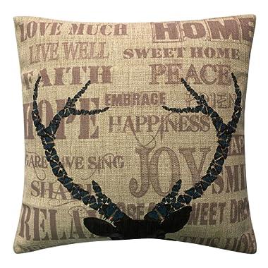 Aeneontrue Cotton Linen Deer Animal Joy Peace Sweet Hot Print Throw Decorative Pillow Cover 18  Style11