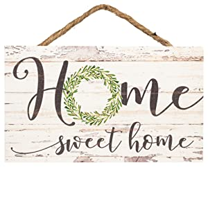 P. Graham Dunn Home Sweet Home Whitewash 6 x 3.5 Wood Mini Wall Hanging Plaque Sign