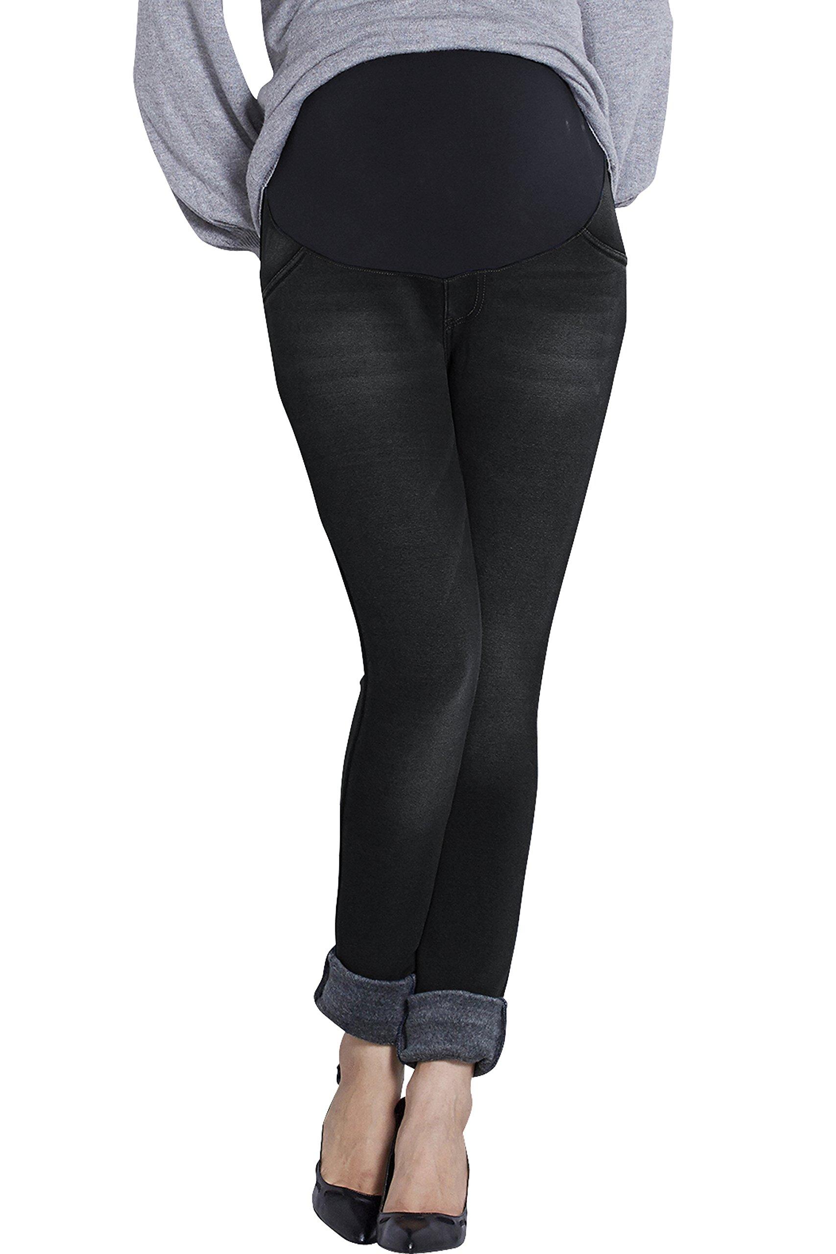Sweet Mommy Maternity Fleece-Lined Denim Skinny Jeans Blue in LL