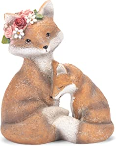 Grasslands Road Fox Mama and Baby Figurines - Fox Figurines - Garden Figurines - Home Garden Décor Figurines, Resin, 8 by 7 1/4 by 4 3/4 Inches