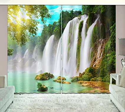 Attractive LB Teen Kids Living Room Bedroom 3D Window Curtains,Waterfall Green Plants  Nature Scene Thermal