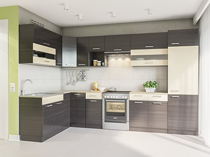 Eldorado de ángulo de Muebles Cocina Alina 330 x 170 + wengué L Forma de Cocina línea Esquina Cocina Block: Amazon.es: Juguetes y juegos