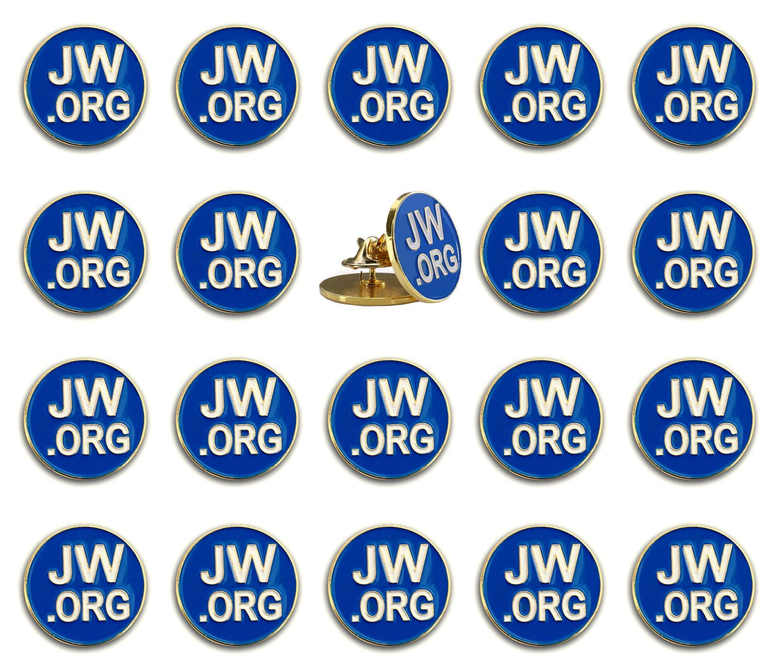 PHAETON 20PCS Round Blue Lapel Pin - JW.org Neck Tie Hat Tack Clip Women or Men Suits-Gold Round Jehovah Witness Lapel Pin by PHAETON