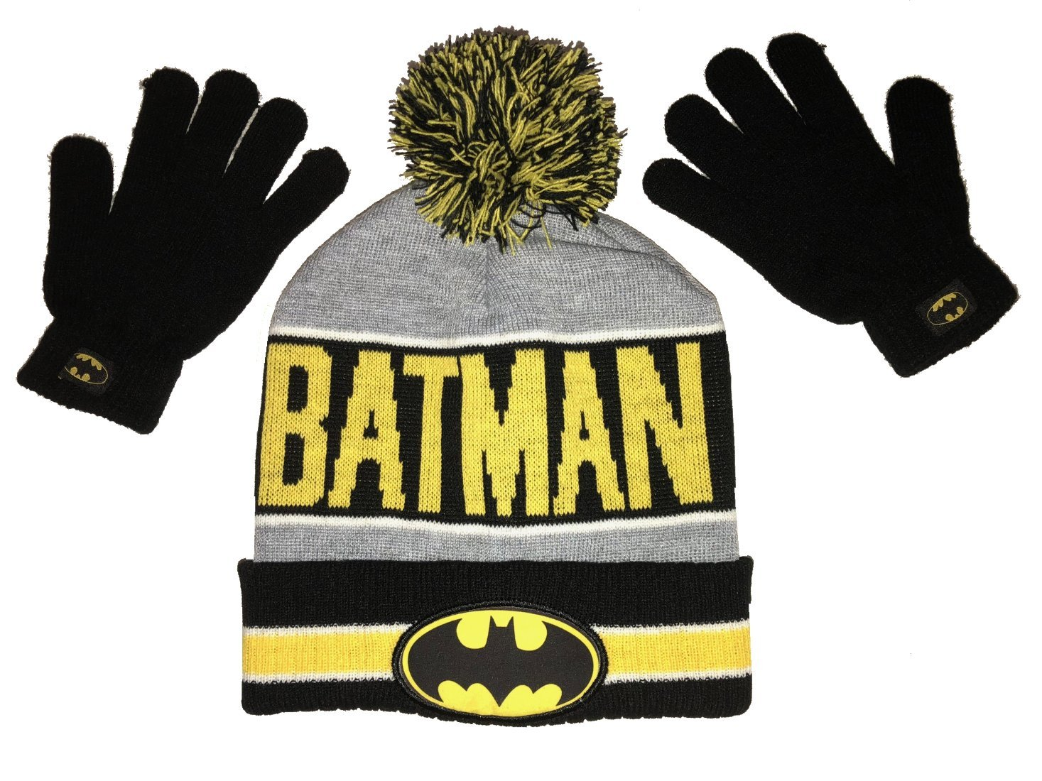 DC Comics BATMAN Knit Winter Knit Hat and Gloves Set One Size