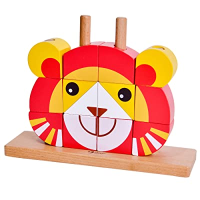 Classic World Lion Uni Blocks Yellow Wooden Stacking and Sorting Toy for Baby Toddler Early Learning Education: Baby
