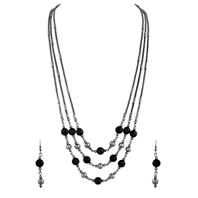 Buy Asmitta Traditional Oxidised Opera Style Necklace Set for Women ...