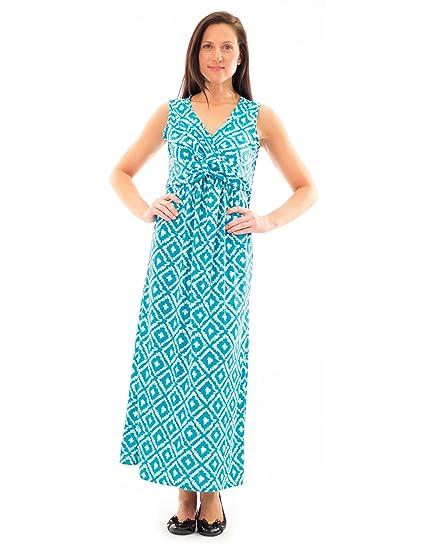 22cf6eb45f18 Avanti Bottega Women's Twist Front Gathered Maxi Dress L Aqua at ...