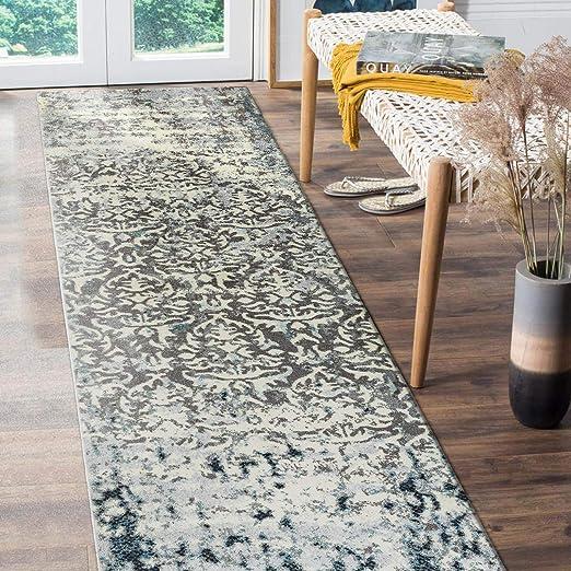 Amazon Com Decomall Vienna Runner Rugs For Hallway Kitchen Distressed Damask Shabby Chic Long Carpet 2 5 X9 Grey Blue Furniture Decor