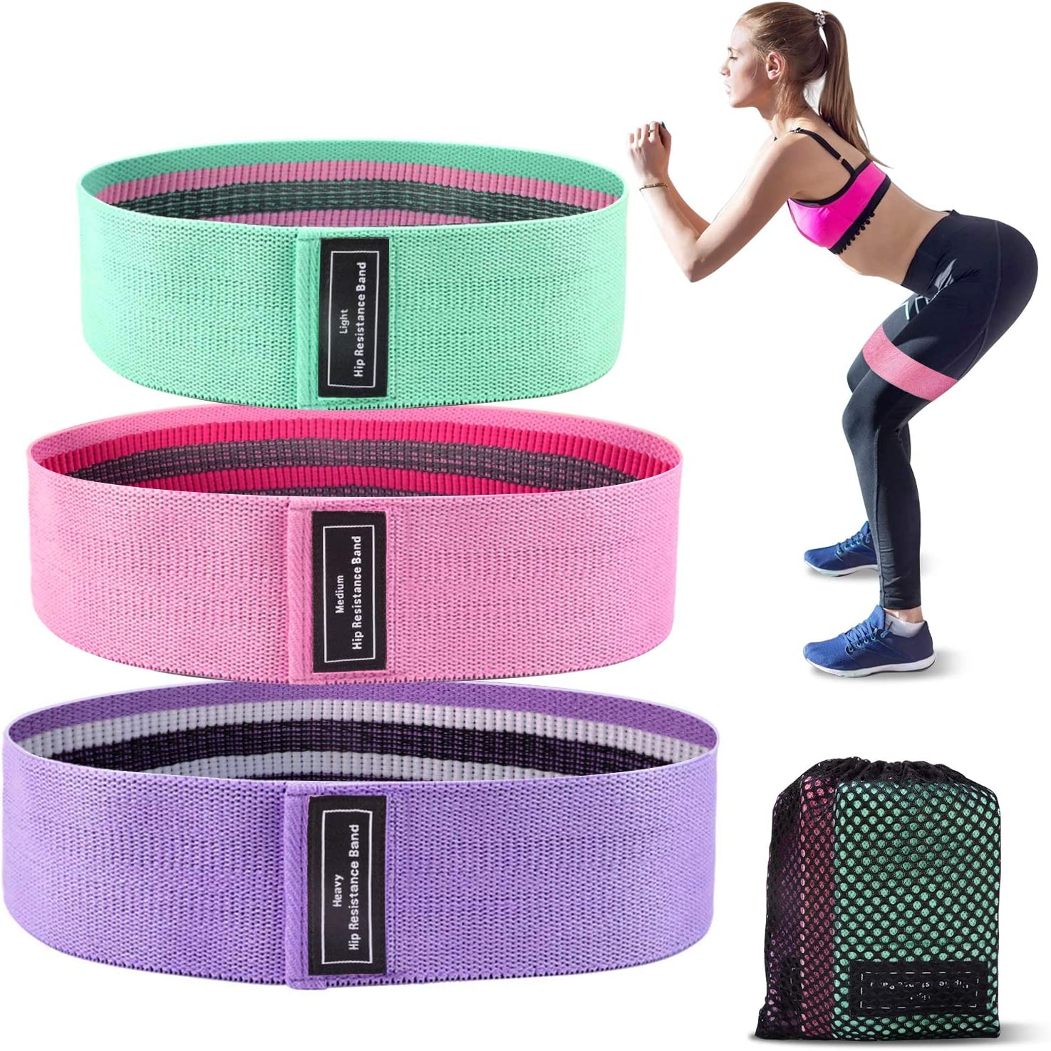 Maggie Resistance Bands Set for Women Butt and Legs Pilates Yoga Wide Anti Slip Fabric Glute Hip Bands Stretching Exercise Bands for Home Workout