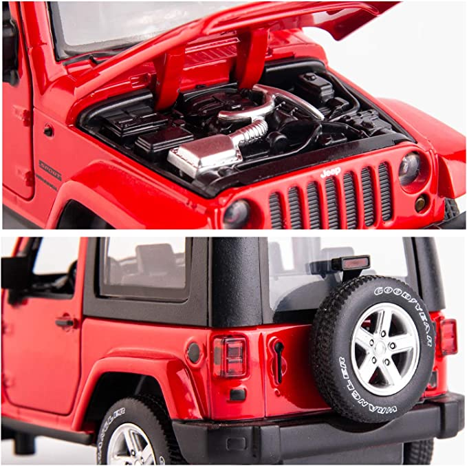 Wrangler 1:32 Scale Alloy Pull Back Toy Car with Sound and Light Toy for Girls and Boys Kids Toys TGRCM-CZ Diecast Model Cars Toy Cars Amy Green