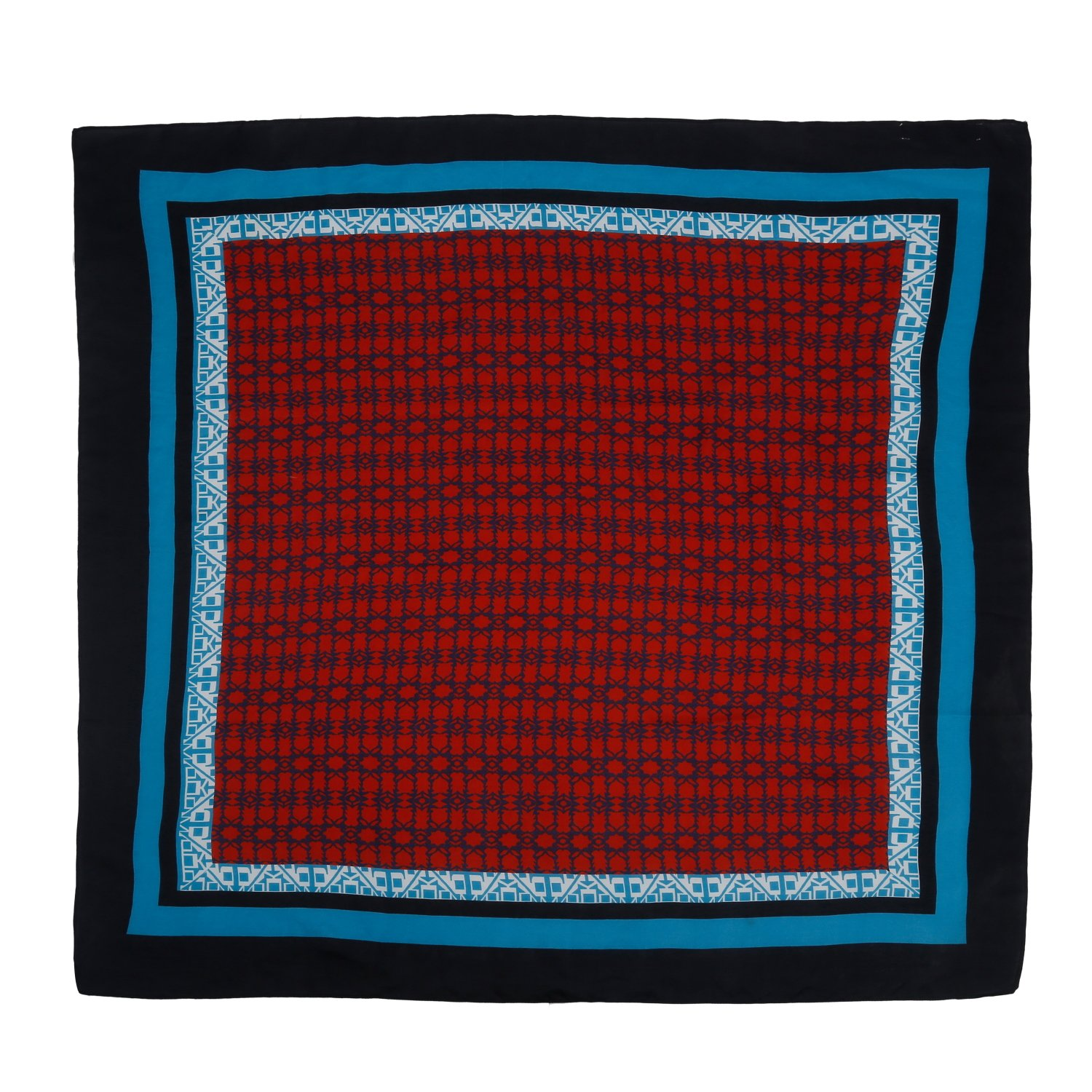 The Scarf Hut New Accessories Rust Abstract Design Pure Silk Square Scarf Wraps.