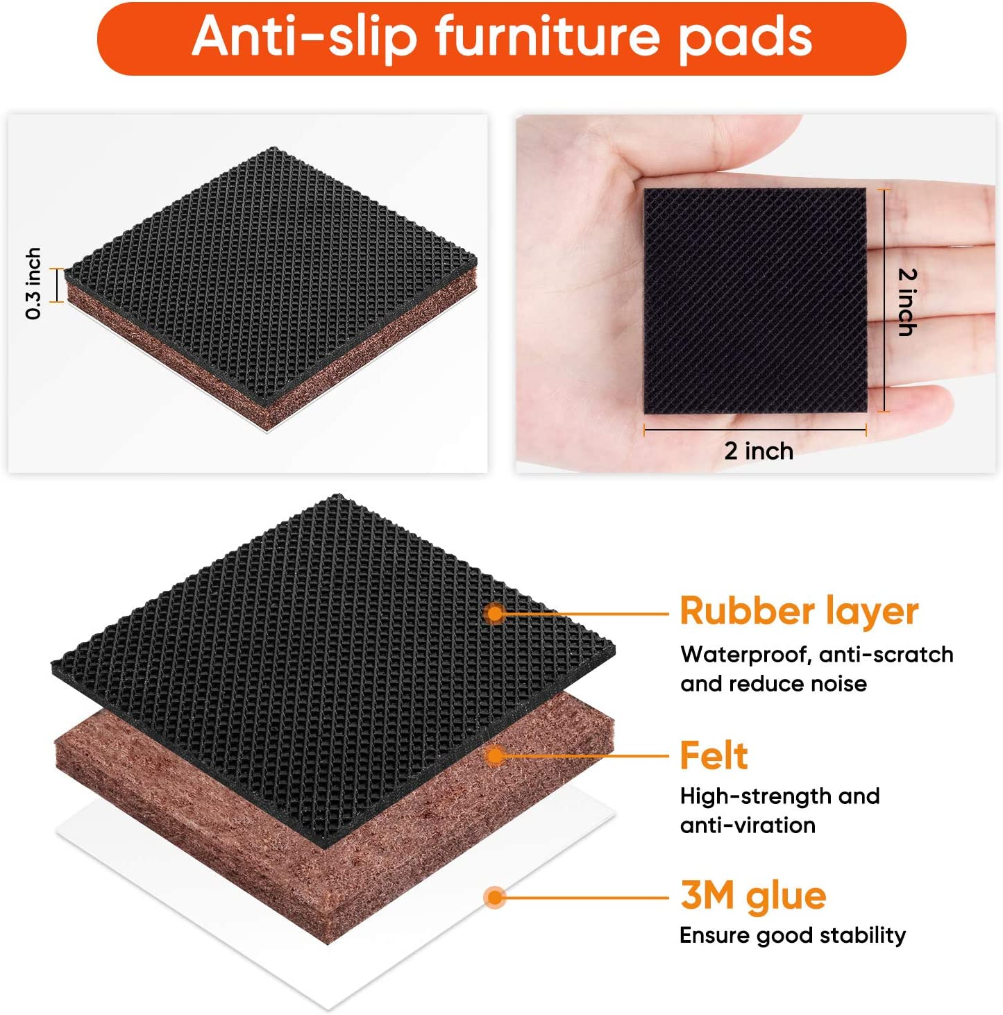 Rectangle Round Square Floors Scratchs Protector Skid Rubber Furniture Pads