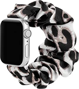 Simpeak Fashion Elastic Fabric Scrunchie Band Compatible with Apple Watch Series 6 SE 5 4 3 2 1, Soft Women Leopard Pattern Printed Bracelet Strap Replacement for iWatch 44mm 42mm,Small,White Black