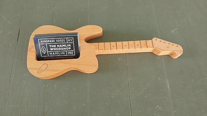 amazon com business card holder guitar wood card holder wood