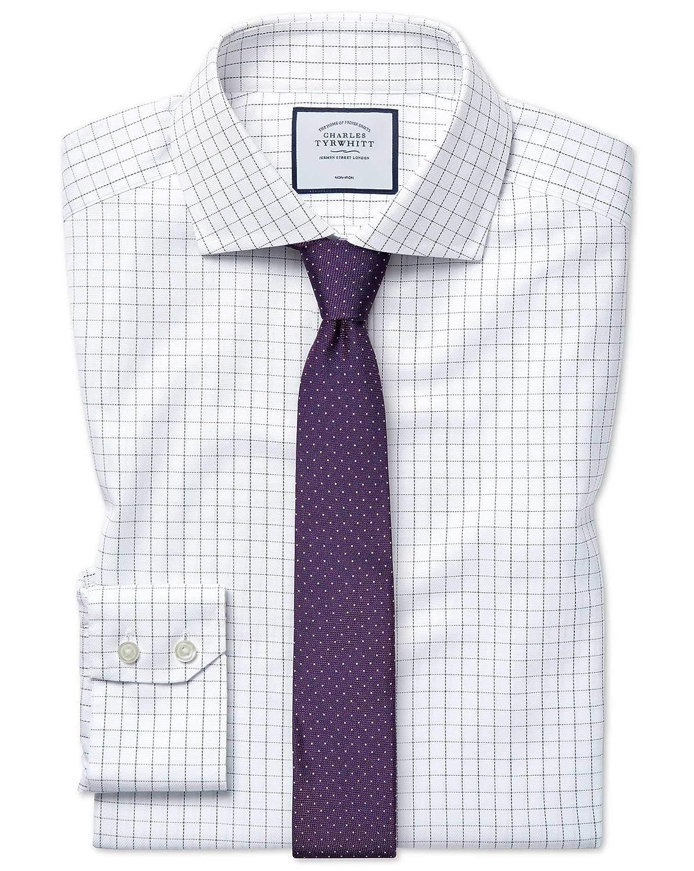 Chemise à Col Cutaway En Oxford De Coton Stretch Bleue Et Blanche à voiturereaux Slim Fit Sans Repassage   Bleu Blanc (Poignet Simple)   17.5   34