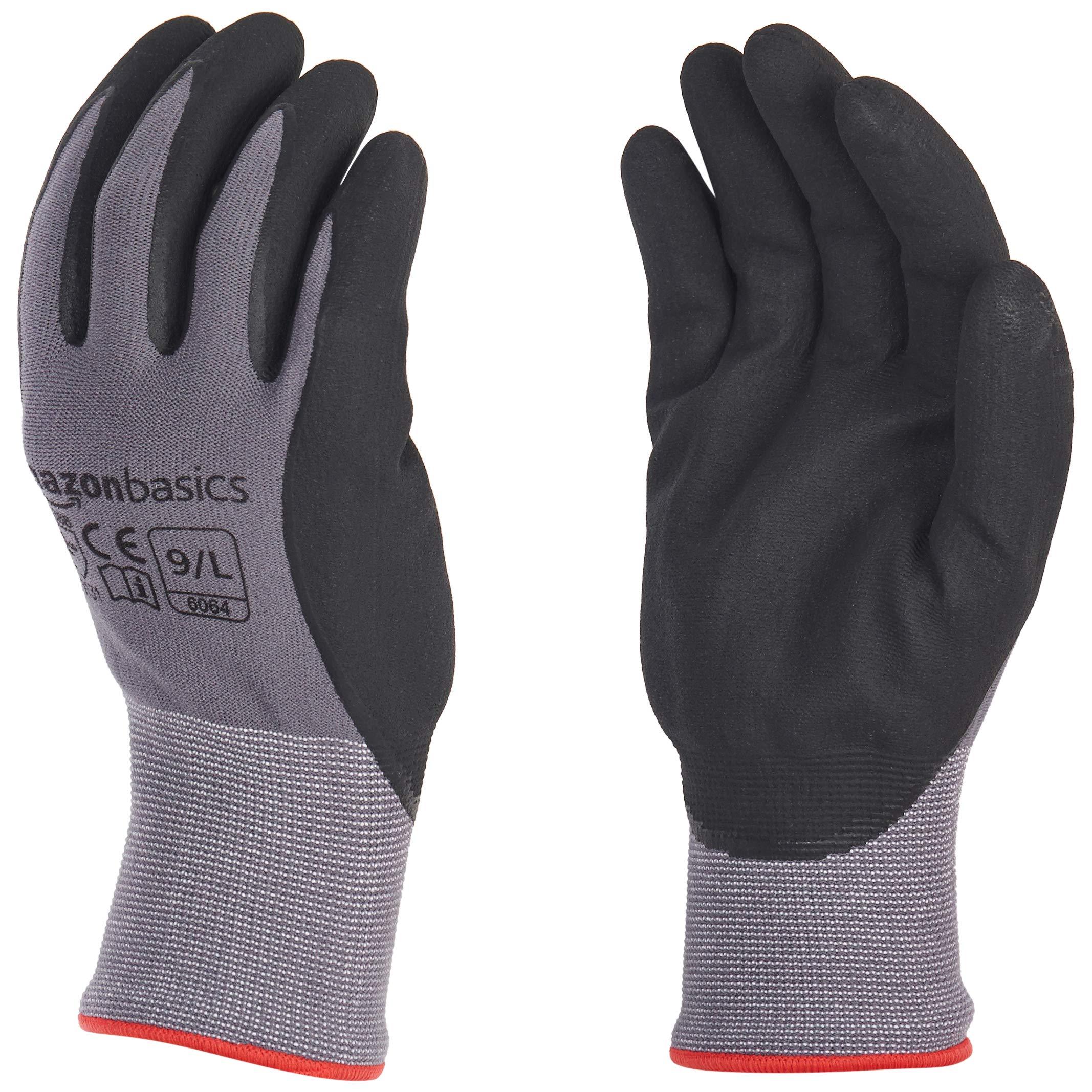 AmazonBasics Micro-Foam Nitrile Coated Work Gloves, Nylon Liner Fiber, Touch Screen, Grey, Size 9, L, 12-Pair by AmazonBasics