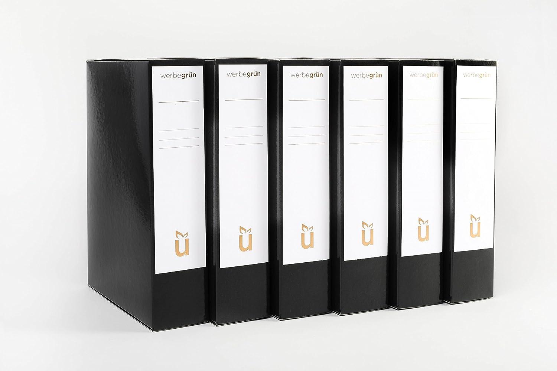 6 Hochwertige Archiv-Boxen mit Magnetverschluss schwarz für DIN-A4 Unterlagen Broschüren, eigene Fertigung (Ordner geschlossen, Dokumentenmappe, Dokumentenbox, Sammelbox, Aufbewahungsbox) werbegruen