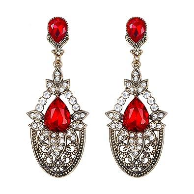 5c1455d982 Amazon.com: Flyonce Women's Vintage Crystal Wedding Bridal Teardrop  Chandelier Dangle Earrings Red: Jewelry