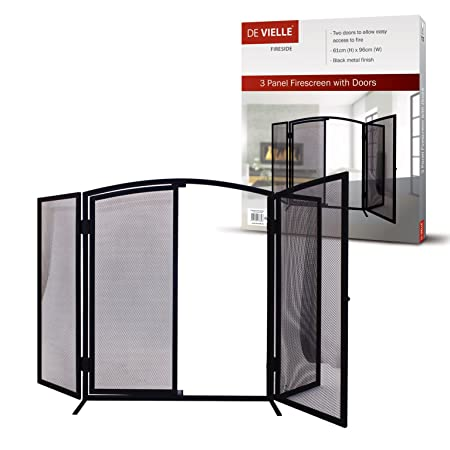 De Vielle DEF977909 Fireplace Fireguard Black 3 Panel Firescreen ...