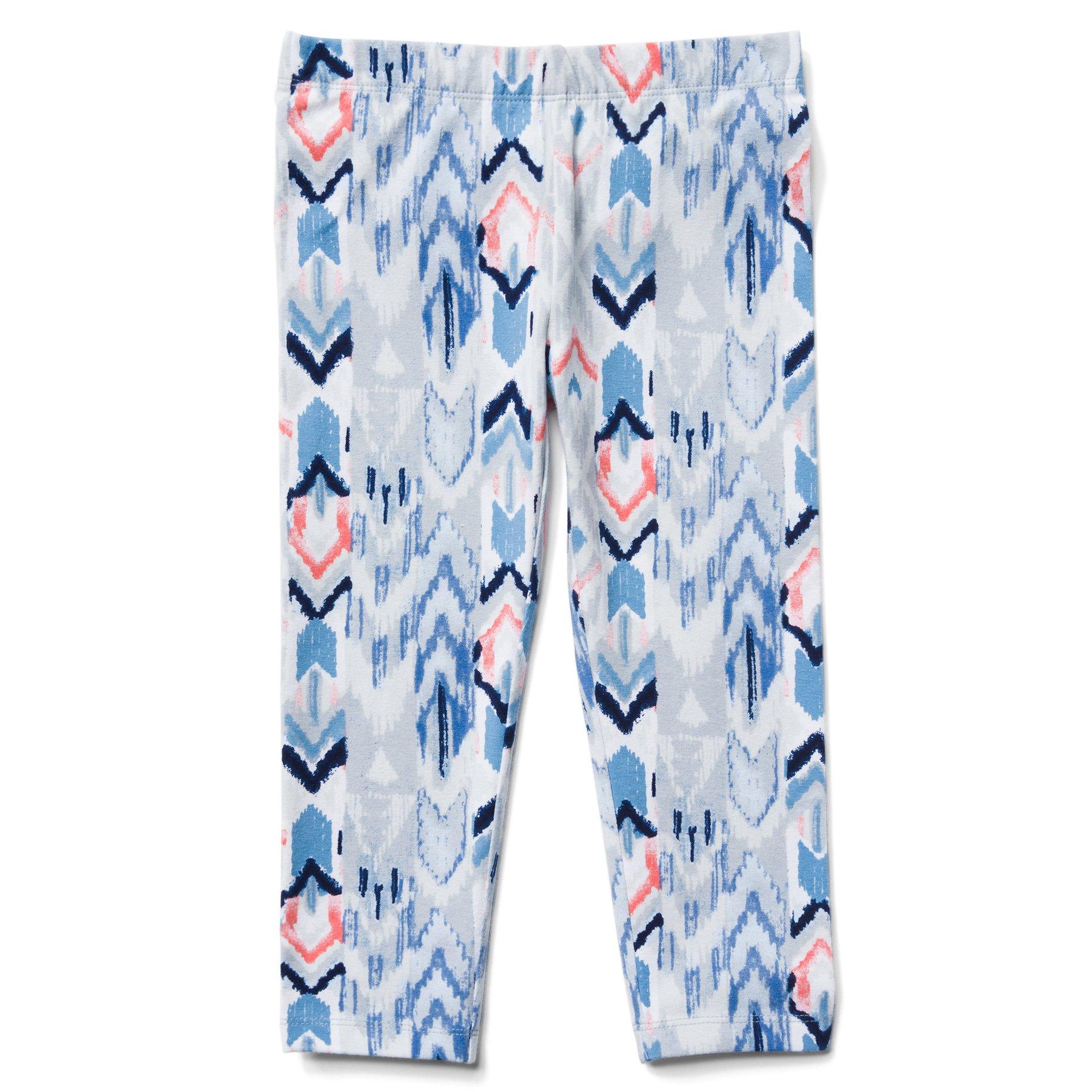 Gymboree Little Girls' Printed Capri Leggings, Tidal Blue Ikat, M