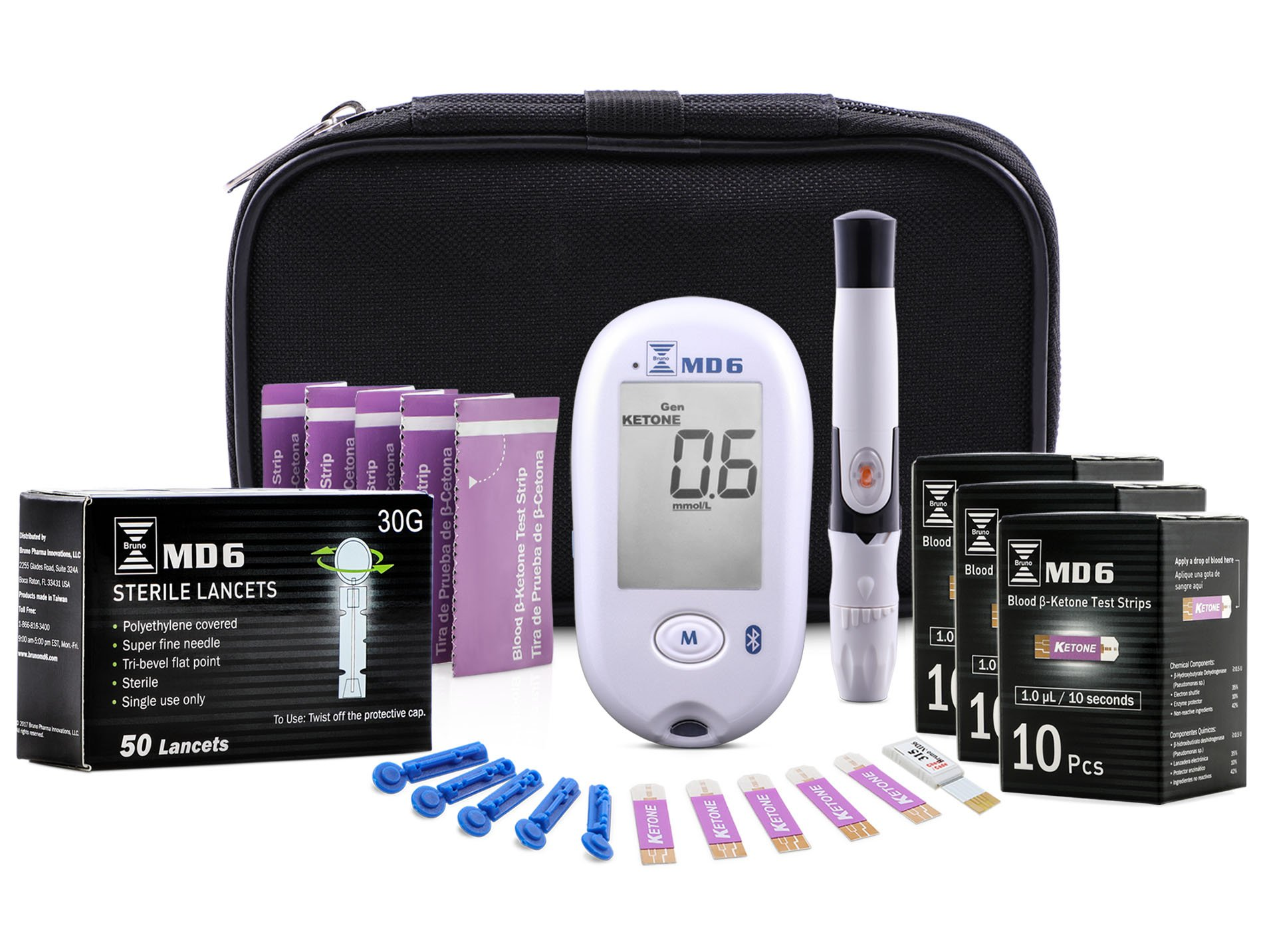 Blood Ketone & Glucose Monitoring System | Track Your Ketones & Ketogenic Diet Progress | Ketosis Test Kit with Lancing Device, 10 Blood Glucose Test Strips, 30 Keto Strips + 50 Lancets by BrunoPharma by Bruno MD6
