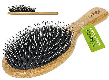 CareElite Cepillo con cerdas de jabalí, madera de bambú natural, para un