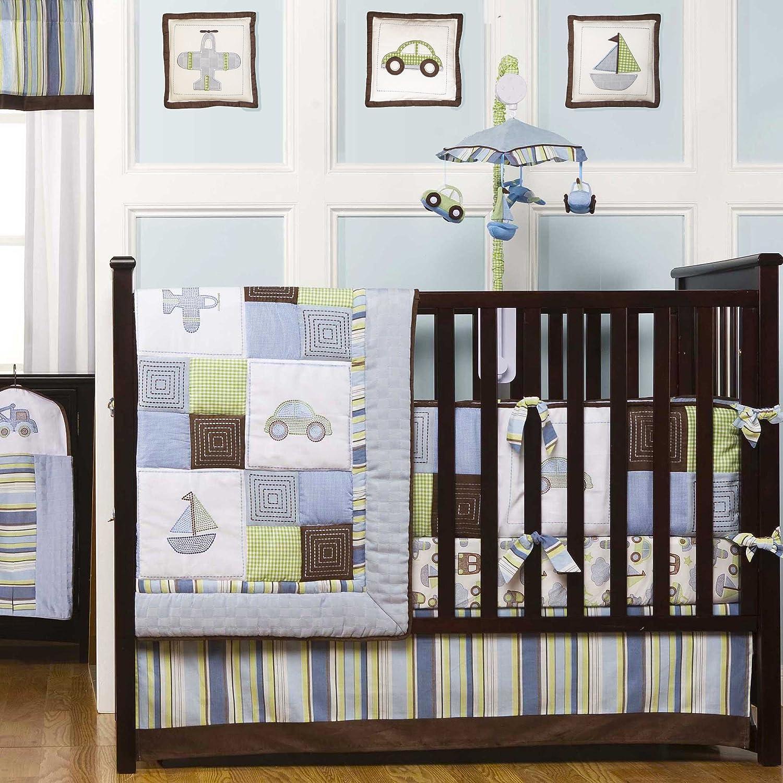 amazoncom kids line mosaic transport 9 pc crib set blue crib bedding sets baby