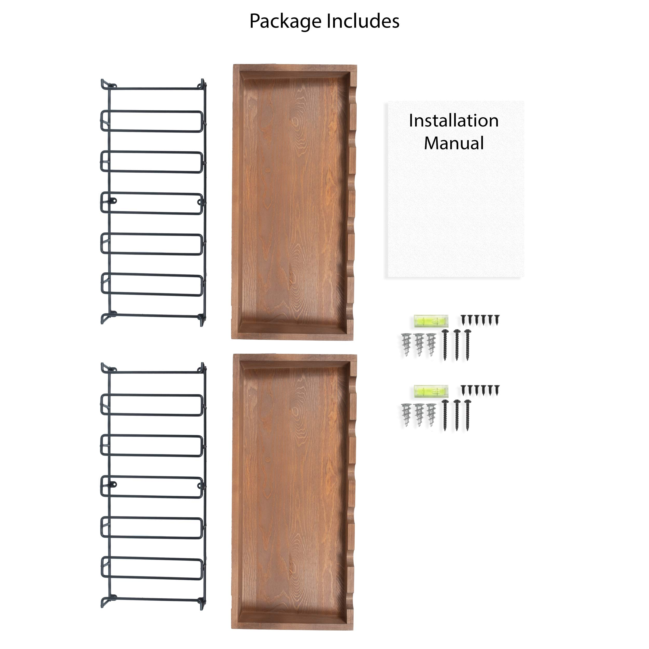brightmaison Wall Mounted Walnut Stained Wood Wine Stem Rack for 6 Bottles and Stemware Glass Storage Holder Organizer Display (Set of 2) by brightmaison (Image #5)