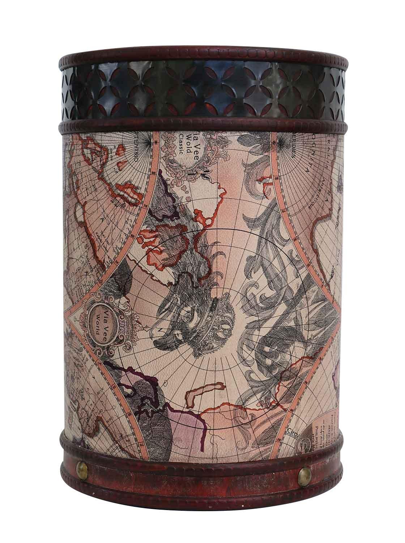 Cestino bidone delle immondizie 33cm mappamondo legno stile antico aubaho