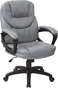 Office Star Padded Faux Leather Seat and Back Contour Managers Chair with Padded Armrests and Heavy Duty Nylon Base, Charcoal Grey