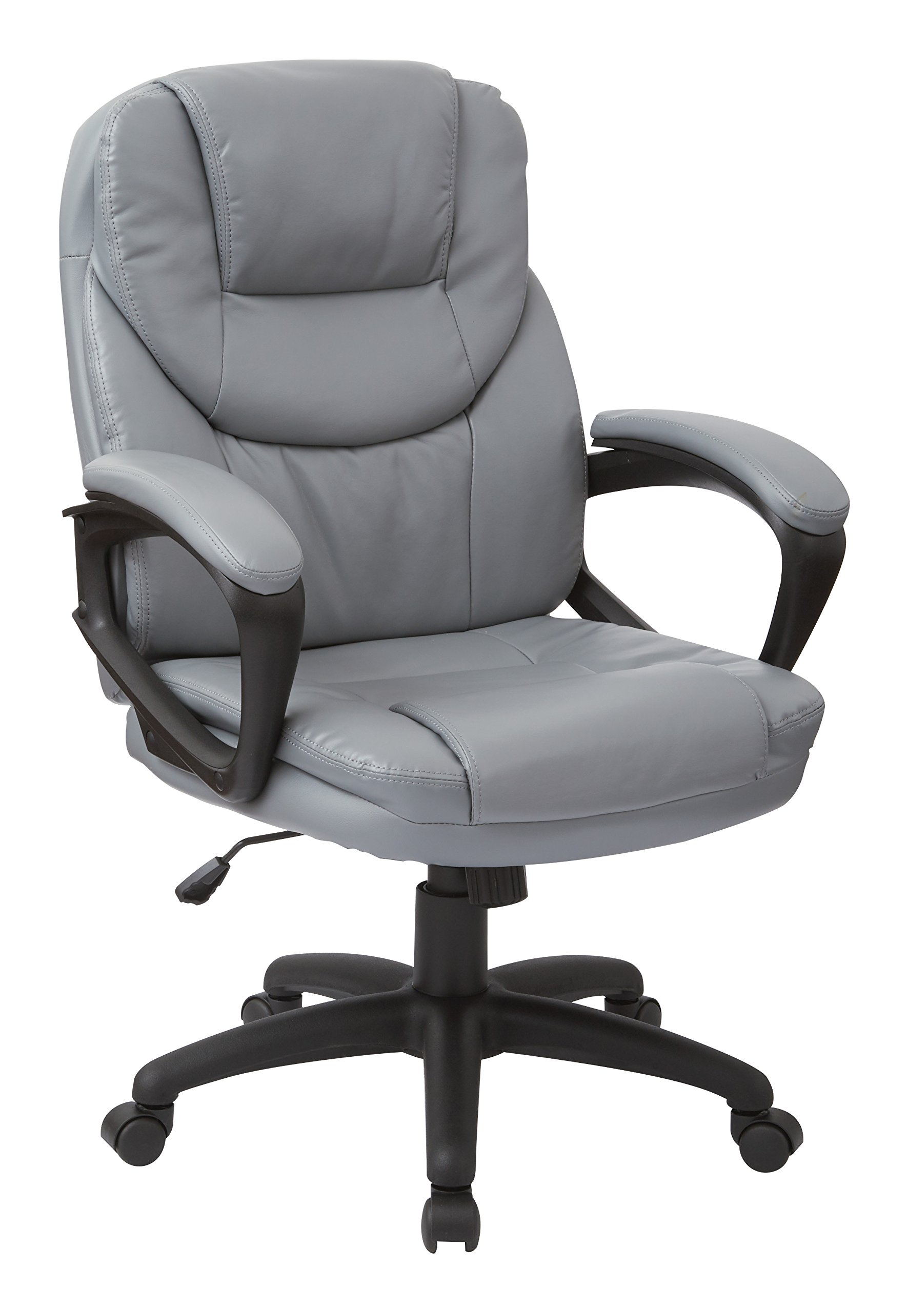 Work Smart Faux Leather Managers Chair, Charcoal