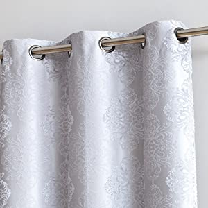 "WARM HOME DESIGNS Pair of Longer Length 37"" x 96"" Metallic White 100% Blackout Isolated Thermal Bedroom Curtains. Total Blackout Curtains Contain 2 Panels in Each Package. RO White 37 x 96"