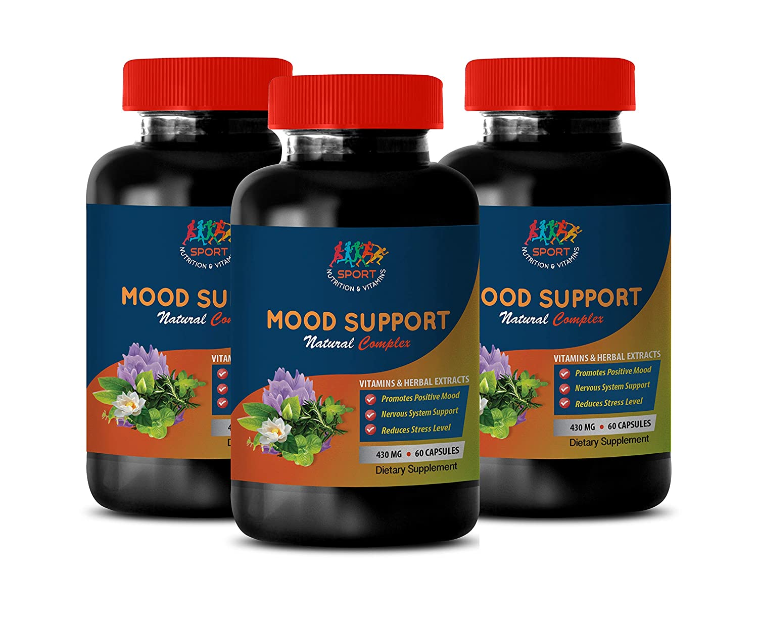 Mood Enhancing Supplements - Mood Support Natural Complex - Vitamins and Herbal EXTRACTS - folic Acid and b Complex - 3 Bottles 180 Vegetable Capsules