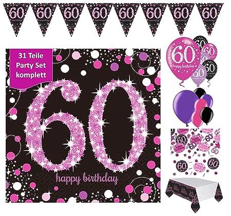 Fijo celebran Decoración 60 cumpleaños | 31 piezas rosa ...