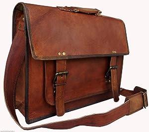 RKH 18 inch Vintage Handmade Leather Messenger Bag for Laptop Briefcase Best Computer Satchel School Distressed Bag (1)