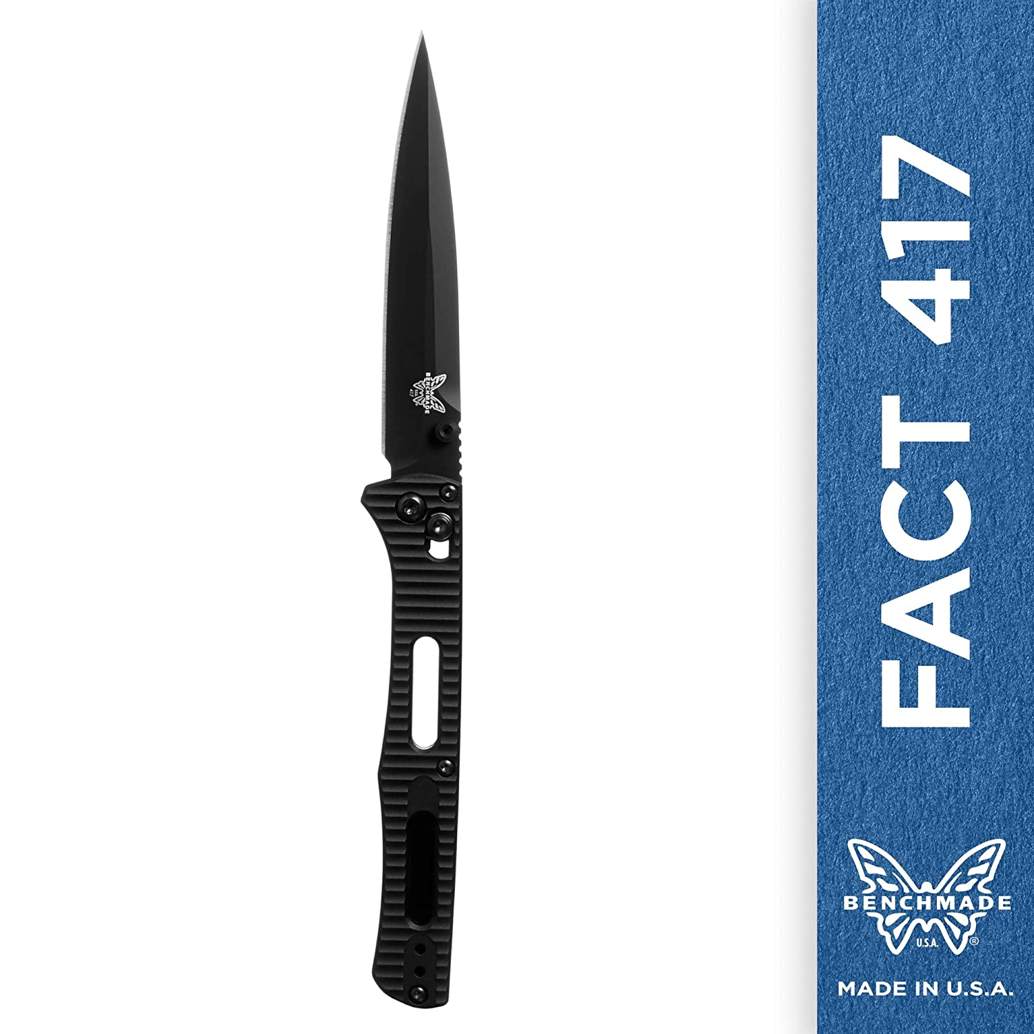 Amazon.com : Benchmade - Fact 417 Minimalist Manual Open Folding Knife Made  in USA, Spear-Point Blade, Plain Edge, Coated Finish, Aluminum Handle :  Sports & ...
