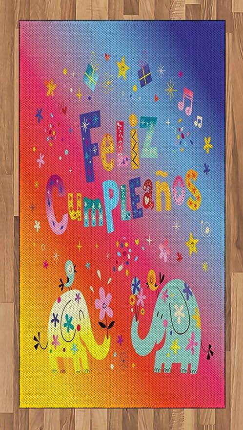 Amazon.com: Ambesonne Spanish Area Rug, Feliz Cumpleanos ...