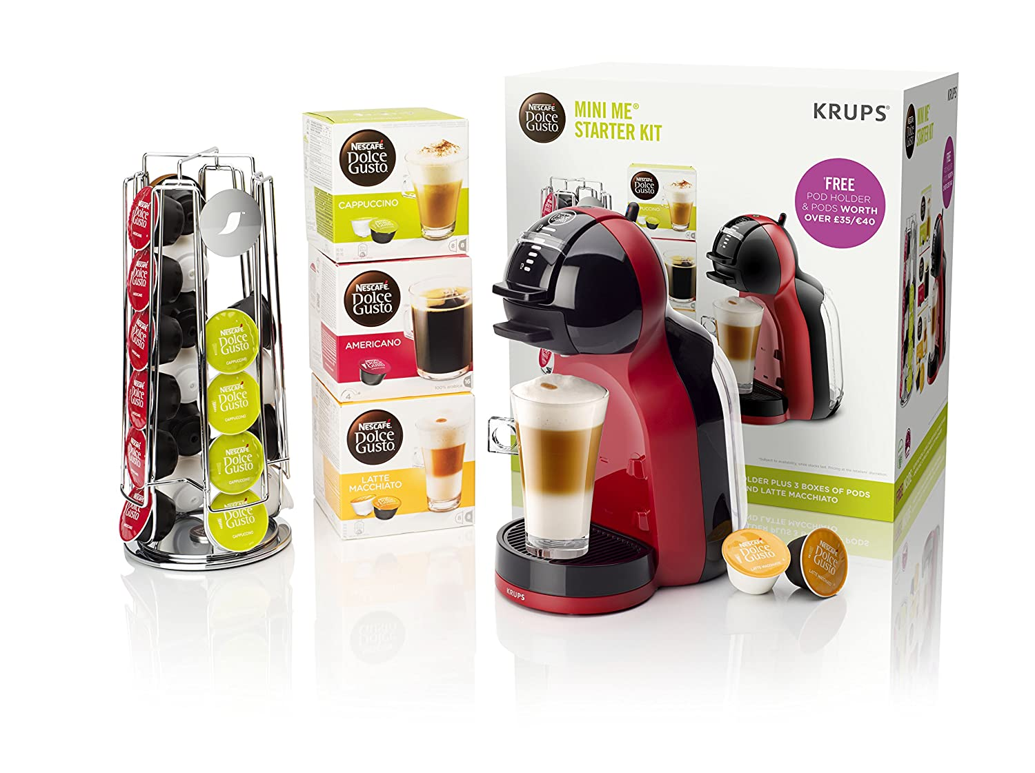 Krups KP120BUN NESCAFe Dolce Gusto Mini Me Coffee Machine Starter Kit, Red Black eBay