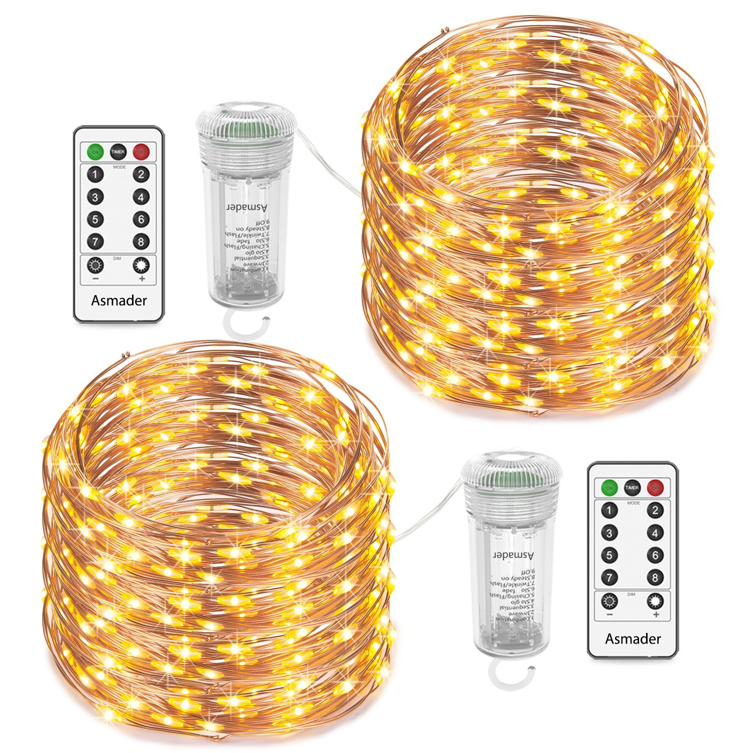 Asmader Fairy Lights 2 Pack Battery Operated String Lights, IP67 Waterproof 8 Modes Remote Timer with 50 LEDs 16.4ft Copper Wire Decor Light for Indoor/Outdoor,Patio,Garden,Party,Holiday(Warm White) by Asmader (Image #1)