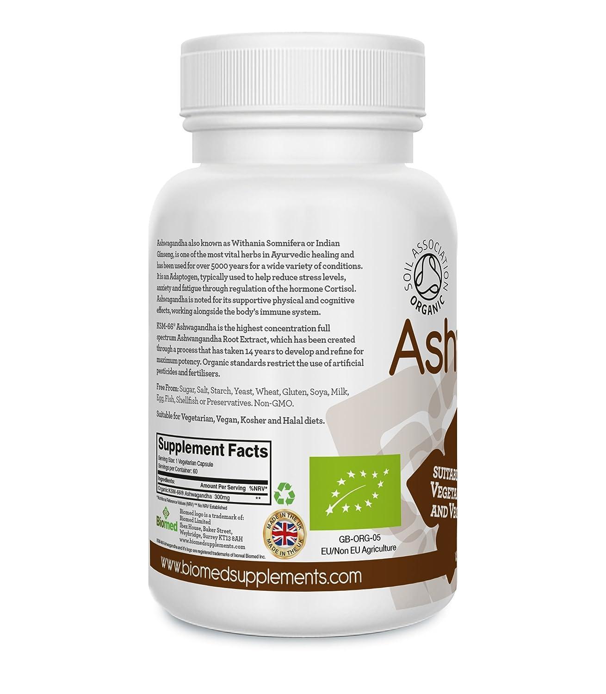Ashwagandha Orgánica KSM-66 300mg, con Certificación Orgánica por parte de la Soil Association, 60 Cápsulas Veganas y Vegetarianas, Suplemento Herbal Puro ...