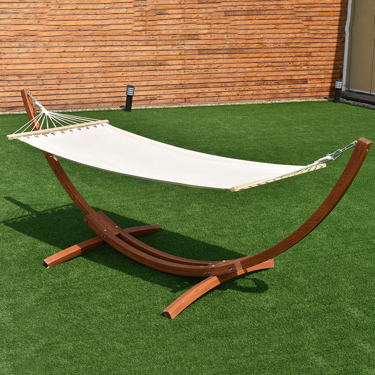 Wooden Curved Arc Hammock Stand with Cotton Garden Outdoor 142''x50''x51''