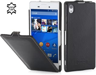 StilGut UltraSlim Case, Custodia in Pelle per Sony Xperia M4 Aqua, Nero