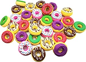 DOYIFun Pack of 24 Donuts Pencil Erasers, Donuts Puzzle Erasers Food Pencil Erasers for Party Supplies Favors Kids Reward Gift