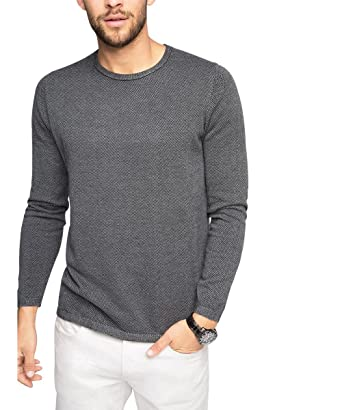 esprit mens mit muster regular fit jumper grey grey 030 large - Jeans Mit Muster