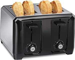 Hamilton Beach 24671 Extra-Wide Slot Toaster with Shade Selector, Auto Shutoff, Cancel Button Toast Boost, Stainless Steel 4-Slice