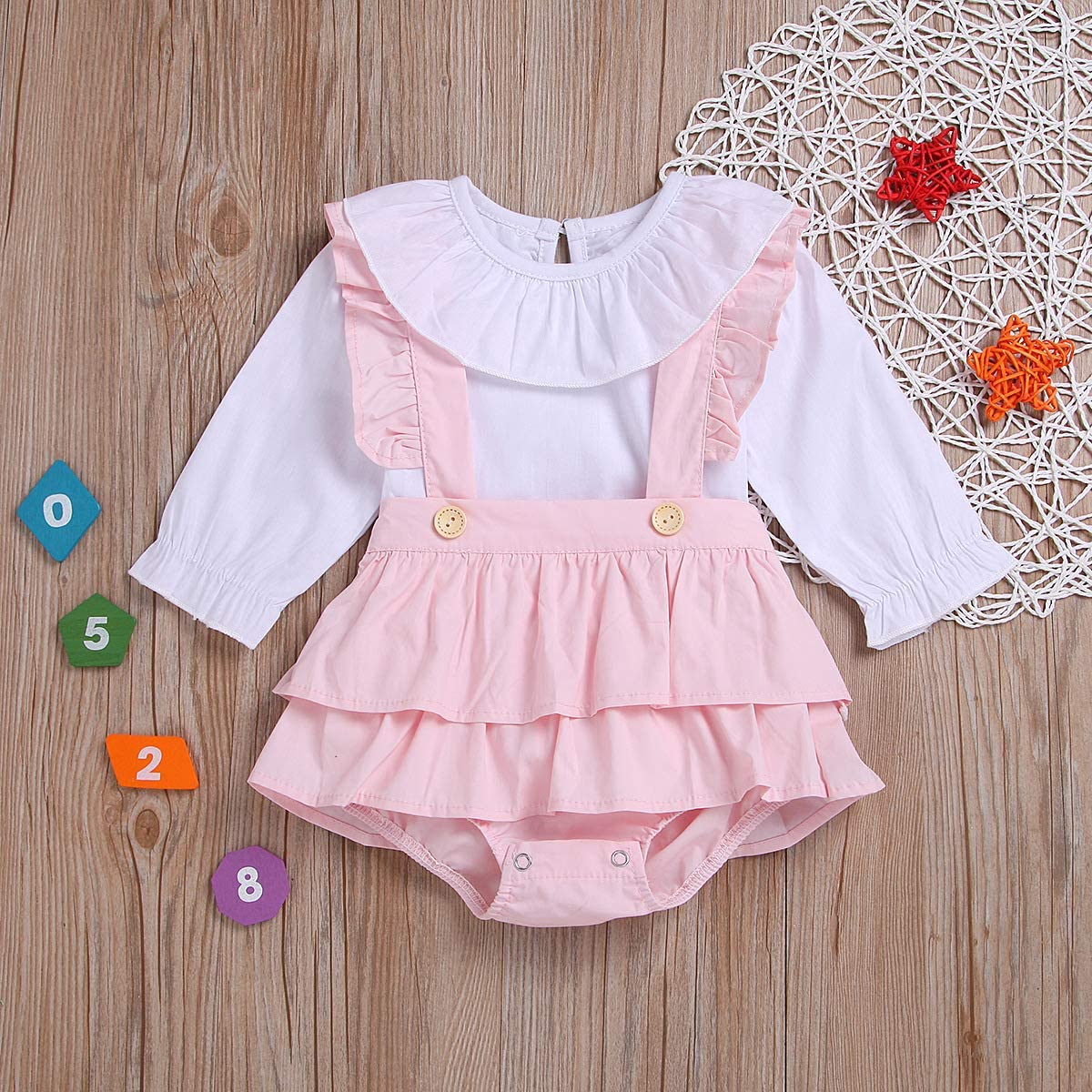 Independence Day Toddler Baby Girl Outfits Star Ruffle Sleeve T-Shirt Tops Strap Suspender Skirt 2PCS Overalls Clothes Set
